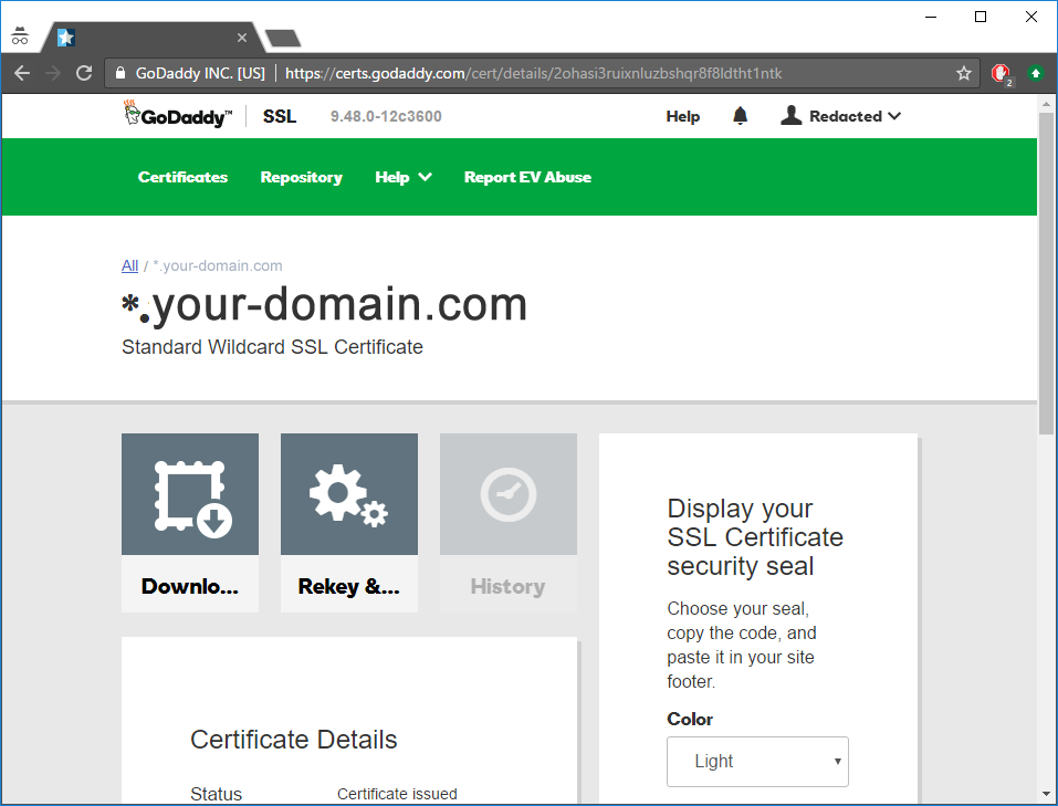 10. Setting up HTTPS (GoDaddy™ example) — Intella Connect™ User Manual